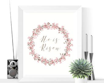 Easter Printables | He Is Risen Easter Wreath Printable | Easter Wreath | Easter Decor | Easter Decorations | Easter Printable | Easter Art