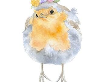 Robin Floral Watercolor Painting Giclee Print 5x7 Nursery Art Flower Wreath Woodland Animal Bird