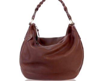 Eldenberry Brown Leather Slouchy Shoulder Hobo Casual Contemporary Weekend Bag Top A Grade Genuine Buttery Soft Cow Leather