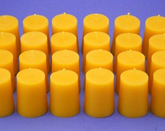 Beeswax Candles, Set of 24 Organic Beeswax Votives, Traditional Tapered Votive Candles, Home Decor Candles, 100% Beeswax Cappings Candles