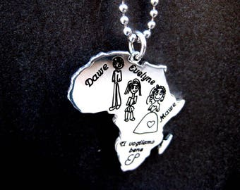 Family pendant in sterling silver