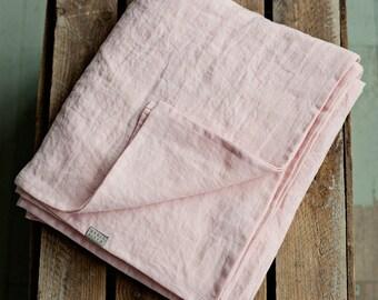 Light pink stone washed linen bed sheet. Linen sheets. Flat linen bed sheets. Natural flat sheet. Organic bed sheet. Queen linen sheet, king