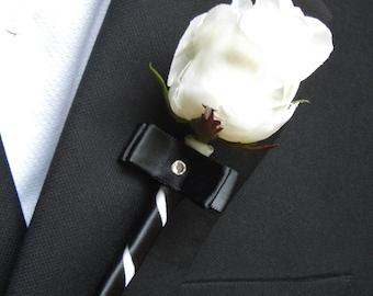 White Rose Boutonniere with Black Ribbon, Groomsmen Lapel Decoration, Mens Buttonhole Bloom