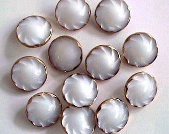 Set of 12 Vintage White Glass Buttons with Gold Trim