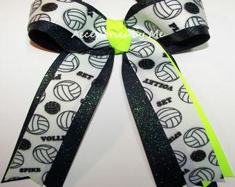 Volleyball Ribbon Bow, Volleyball Clip, Volleyball Neon Lime Navy Blue Glitter Ponytail, Wholesale Volley Balls Bows, Bulk Team Color Bows