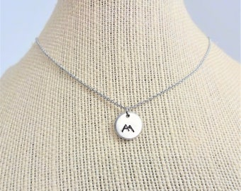 MOUNTAIN w SNOW NECKLACE - hand stamped mountain necklace - choice of chain and length