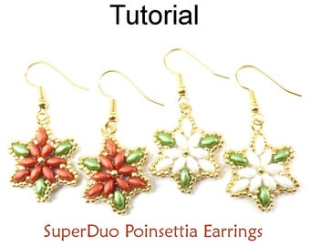 Beading Tutorials and Patterns - Beaded Christmas Holiday Poinsettia Earrings - Simple Bead Patterns - SuperDuo Poinsettia Earrings #23702