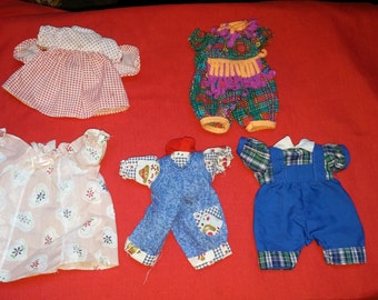 Doll Clothes 5 Outfits for Small Dolls Vintage Doll Dresses and Romper Suits