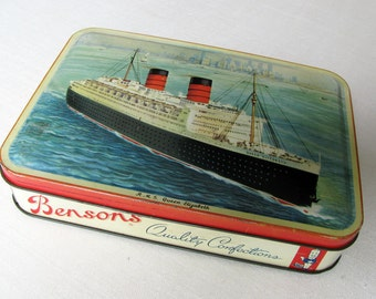 H.M.S. Queen Elizabeth, Mid-Century, Steamship, Vintage Tin Box, Bensons, Quality Confections, c.1950, Reuse and Recycle, Great as Gift Box
