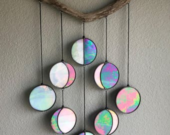 Moon Phase Hanging // Celestial Art // Moon Phase Wall Decor // Stained Glass Moon Phase // Phases of the Moon // Lunar Cycle