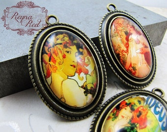 Art Nouveau Lady Pendant Mix, art deco, Valentines Day pendant, jewelry supply, love, romantic pendant, beading, beads - reynaredsup