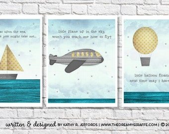 Travel Nursery Art Set Of 3 Prints Little Boy Quote Kid Airplane Art Hot Air Balloon Baby Room Decor Sailboat Picture Transportation Bedroom