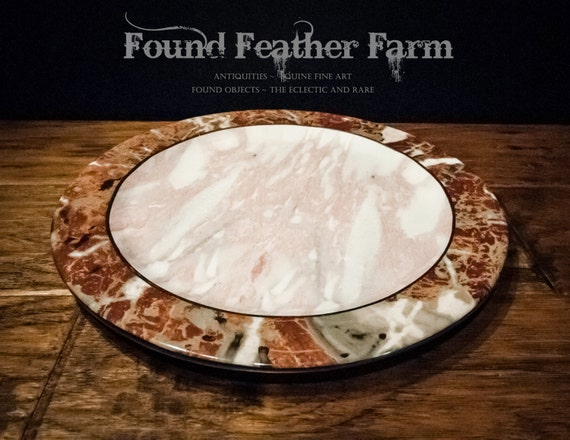 Heavy Porcelain Faux Marble Charger Plates