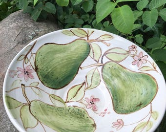Pink Wildflower and Pear Watercolor Bowl by Sweetpea Cottage Pottery cream and pink and brown use hot or cold