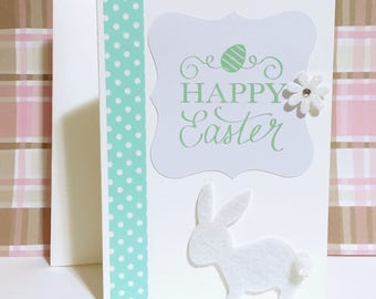 Happy Easter Card, Easter Greeting Card, Bunny Card, Handmade Card, Easter Rabbit, Cards for Easter, Greeting Card