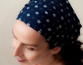 Head Scarf Womens Headband Hair Wrap Hair Accessories Classic Navy Blue White Geometrical Print Head Wrap Turban Classic Scarf Neck Bow Sash