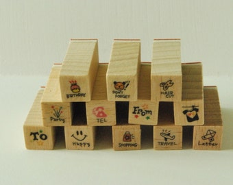Wooden Rubber Stamp Set - Mini Diary Stamp Set - Travel...-  12 Pcs