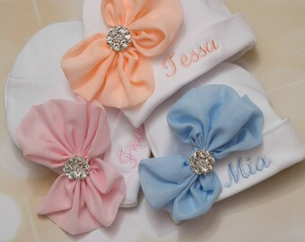 Personalized Baby Girl White Beanie Hat with Chiffon Bow and Rhinestone