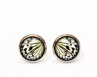 Butterfly earrings, Butterfly wing earring studs, Butterfly jewelry, Everyday earrings, Mustard tiny earrings, Ear posts, Tribal Earrings UK