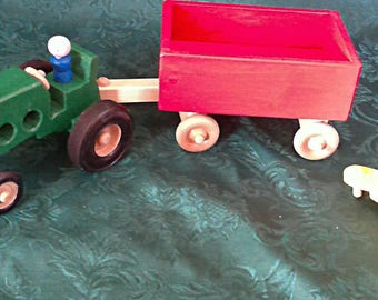 Wood toy Tractor with trailer and disc. Hand crafted..  all non-toxic finish