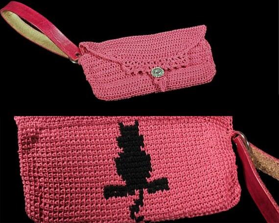 Pink Wristlet, Cat Wristlet, Handbag, Leather Interior, Leather Handbag, Crochet Handbag, Rhinestone Button, Original Design, Boho Chic