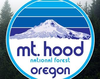 Mt. Hood National Forest Round Vinyl Sticker/Decal