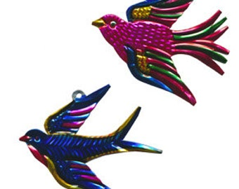 Tin Ornament of Cheerful Swallows!