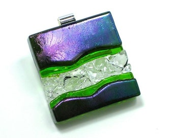 Statement Art Glass Jewelry Green Purple Dimensional Hand Sculptured Wearable Pendant Necklace Artist Signed