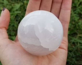 Large Polished White Selenite Crystal Ball Stone Sphere #2