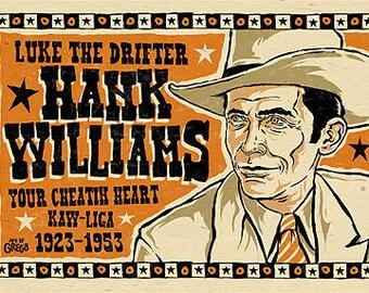 "Hank Williams Poster- signed by Grego - digital - folk art - big 12""x18"" - mojohand.com"