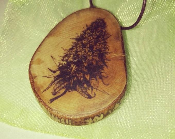 Cannabis Bud Hemp Marijuana Necklace Wooden Charm Brown  Eco Friendly Handmade Personalised Charms Wood Hand made Jewellery #Etsy