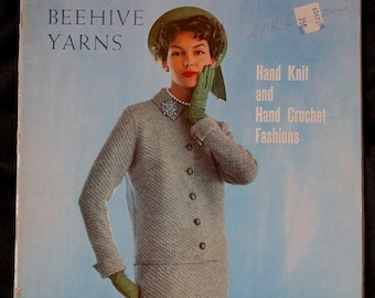 1950s 1960s Knit and Crochet Dress Pattern Booklet / Columbia Minerva Hand Knit and Hand Crochet Fashions Vol 727  - Dresses Suits Jackets