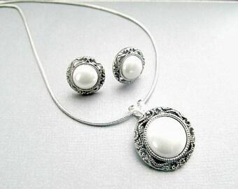 Pearl filigree Earrings Necklace Set Bridal Wedding Sets,
