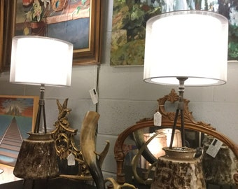 Rare Pair Of Rembrandt Mid Century Atomic Lamps with Ceramic body on Tripod Legs