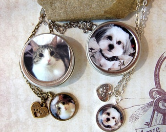 Girl's Best Friend Necklace Pet Necklace for Girls Photo Cat Necklace Dog Necklace in Matching Gift Tin