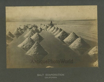 Salt evaporation field antique photo California