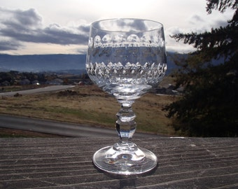 "Cut Crystal Goblet or Wine Glass, 2-5/8"" Diameter x 5"" Tall"