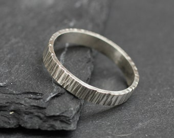 Tree Bark Ring; Sterling Silver Textured Ring