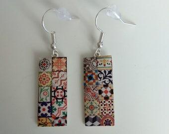 Modernist Earrings Hydraulic Tile