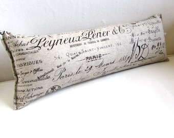 FRENCH script 9x25 Bolster/lumbar/throw/accent/toss pillow