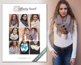 Infinity Scarf Crochet Patterns - 8 Pattern E-Book by Little Monkeys Crochet     infinity scarf crochet pdf patterns, instant download pdfs