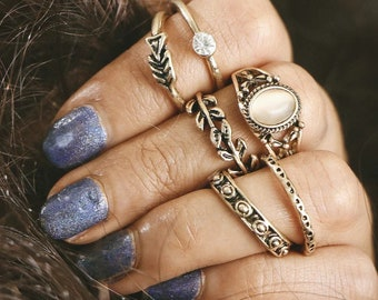6 pcs stackable bohemian rings, festival boho jewelry, beach and vacation summer jewelry, knuckle rings, tribal accessories