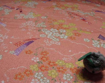 Fabric flower pattern collection Ikanobori pink background - 50 cm