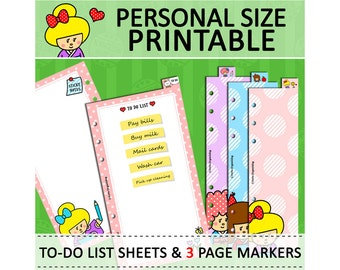 PRINTABLE Personal Size Cute Kawaii Kokeshi DIY Page Markers & To Do List Sheets for Filofax Organizer Planner Instant Download