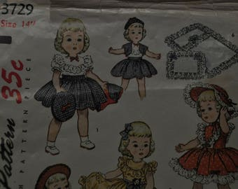 """Doll Pattern - 14"""" Doll - Dresses, Skirt & Top, Cow Girl Outfit - Mostly Uncut -Simplicity 3729"""