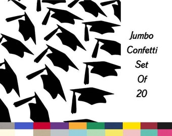 Graduation Hats Jumbo Table Scatter Confetti Die Cuts set of 20 Pick Your School Colors