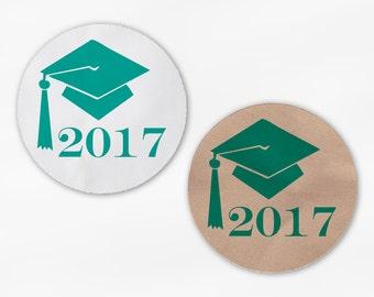 2018 Graduation Cap Favor Stickers - Teal Custom White Or Kraft Round Labels for Bag Seals, Envelopes, Mason Jars (2012)
