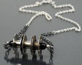 Sewing Bobbin Necklace- Black & Silver Upcycled Necklace, Found Object Jewelry, Sewing Jewelry, Sewing Necklace, Gift for Sewer, Industrial