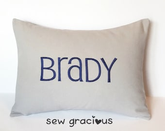 MONOGRAM NAME Decorative Pillow Cover made to fit a 12x16 Throw Pillow insert. Nursery Decor. Baby Gift. Family Name. Wedding Gift.