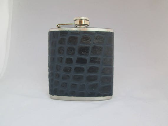 Embossed Collection Faux Blue Crocodile Flask